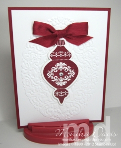 Cherry Cobbler and Whisper White, Ornament Keepsake Bundle, Holiday Frame embossing folder, Cherry Cobbler Seam Binding.Swap card from Linda Madison
