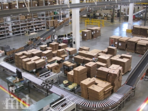 This is where your Stampin' Up! orders start - with a box and a label and then they take a ride through the warehouse on a conveyor belt.